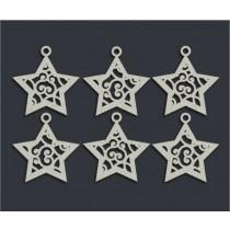 Новогодние звёздочки (6 элем. 5х5 см - 1 эл.), CB141