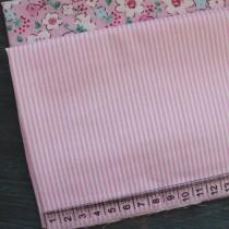 """Ткань """"Полоска белая+розовый"""", 40х50 см., 100% хлопок"""