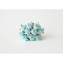 Mini розы 1,5 см - Бирюзовый+белый 560 1 шт