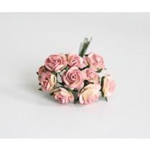 Mini розы 1,5 см - Желтый+розовый 526 диаметр розы 1,4-1,5 см высота цветка 0,6 - 0,7 см длина стебля ок 5 см, 1 шт.