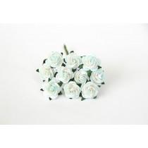 Mini розы 1,5 см - Мятный+белый 561 диаметр розы 1,4-1,5 см высота цветка 0,6 - 0,7 см длина стебля ок 5 см, 1 шт.