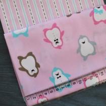 """Ткань """"Пингвины на розовом"""", 50х52 см., 100% хлопок"""