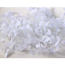 Лента с листочками - Белая, 1 м