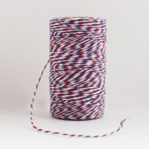 Шпагат хлопковый трехцветный бело-сине-красный 1м