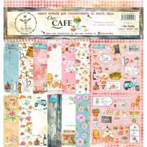 "Набор бумаги ""Our CAFE"" 30.5 на 30.5, 8 двусторонних листов + лист бонус (оборот обложки), 190 г/м."