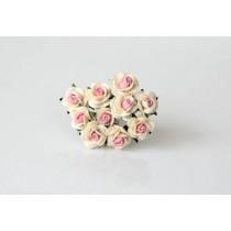 Mini розы 1 см - Молочный+св. розовый в середине 922, 1 шт.