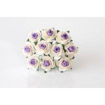 Mini розы 1,5 см - Молочный+Св.сиреневая середина 985, 1 шт