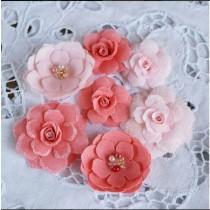 Цветы из ткани 7 шт., размер от 2.5см до 6см
