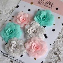 Цветы из ткани 6 шт, размер 5-6 см