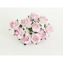 Mini розы 1,5 см - Розовый+белый 518 1 шт