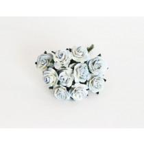 Mini розы 1,5 см - Голубые 2хтоновые 563диаметр розы 1,4-1,5 см высота цветка 0,6 - 0,7 см длина стебля ок 5 см, 1 шт.