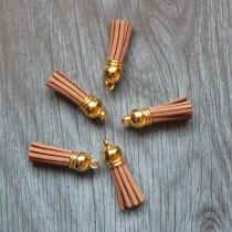 Кисточка из искуственной замши, 38 мм, цвет коричневый/золото