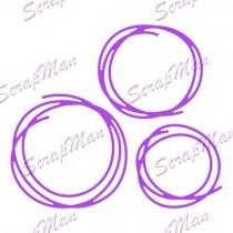 Набор ножей для вырубки Circles Doodle (Круги) от ScrapMan, размеры 5,4*5,5см 4,4*5см и 4*4см, DR-49