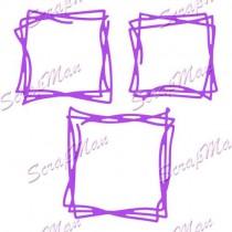 Нож Square Doodling (Квадраты дудлинг) от ScrapMan, размер 4,6*4,6см 5*5см и 5,8*6см, DR-78