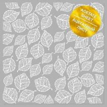 """Ацетатный лист с фольгированием """"White Leaves"""" 30.5х30.5см, пл.200 г/м"""