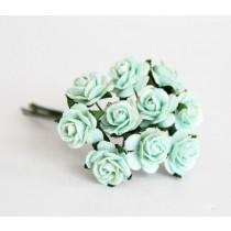 Mini розы 1,5 см - Мятные 166диаметр розы 1,4-1,5 см высота цветка 0,6 - 0,7 см длина стебля ок 5 см, 1 шт.