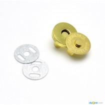 Кнопка магнитная диаметр 14 мм, цвет - золото, 1 комплект