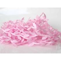 Лента с листочками - Розовая, 1м