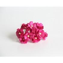 Цветы вишни средние - Фуксия 118 1 шт 1,5-2см высота цветка 1 см длина стебля ок 7 см