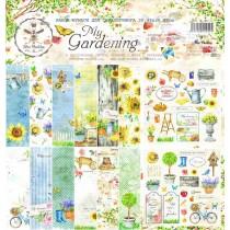 """Набор бумаги """"My Gardening"""" 30.5 на 30.5, 8 двусторонних листов + лист бонус (оборот обложки), 190 г/м."""