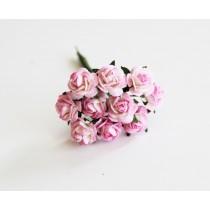 Mini розы 1 см - Розовый+белый 518 1 шт