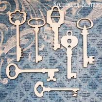 "Чипборд ""Ключи"" размер в среднем 5х2 см, 7 шт."