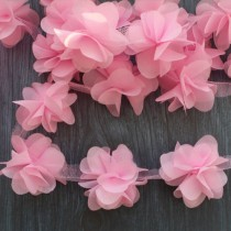 Цветы шифоновые - розовые , 1 шт., диаметр 5 см.