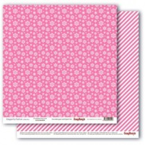 Бумага для скрапбукинга 30,5х30,5 см 190 гр/м, двусторон Зимние контрасты Снежное утро. Розовое наваждение, 1 лист