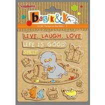 "Набор штампов 10,5*10,5см Кот - Басик ""Live, Laugh, Love"""