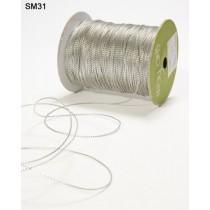 Лента May Arts STRING - METALLIC  (металлическая нить) ширина 1 мм, цвет SILV, 1 метр