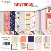 Набор двусторонней бумаги 20х20см от Scrapmir Birthday Party 10шт SM2200016