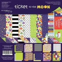 Набор двусторонней бумаги 30х30см от Scrapmir Ticket to the Moon 10шт, Надписи и карточки в наборе на английском языке. Плотность 190г/м