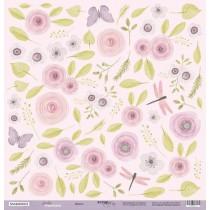 Лист односторонней бумаги для вырезания Цветы 30x30 от Scrapmir из коллекции Daddy's Princess , пл.190 г/м