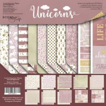 Набор двусторонней бумаги 30х30см от Scrapmir Unicorns 10л., пл.190 г/м