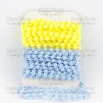 Набор тесьмы с помпонами (голубой, желтый)