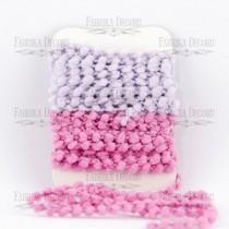 Набор тесьмы с помпонами (сиреневый, розовый)