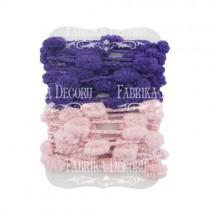 Набор тесьмы с помпонами  (темно-розовый, сине-фиолетовый)
