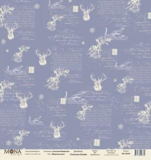"""Лист Морозное утро, односторонняя, из коллекции """"Сказочное Рождество"""", размер 30.5х30.5 см, 190 гр\м2."""