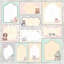 """Лист с карточками для декорирования коллекция """"Baby Shabby"""". 30х30 см, 200 г/кв.м FDSP-01011-2"""