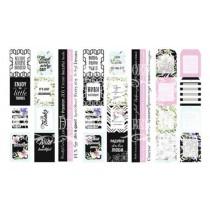 """Набор из 4-х полос с карточками для декорирования на русском и английском языках, размер 5см х 30,5см, коллекция  """"Wild orchid"""""""