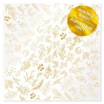 Ацетатный лист с фольгированием Golden Branches 30,5х30,5 см, пл.200 г/м