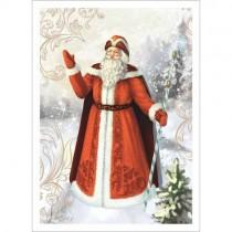 "Тканевая карточка ""Новогодний лес. Дед Мороз"" (ScrapMania)"