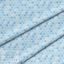 """Премиум хлопок """"Волны ярко-голубые"""" размер 50х40 см., пл.150 гр/м2, Польша"""