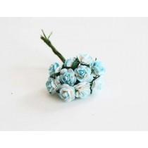 Mini розы 1 см - бирюзовый+белый 560 1 шт