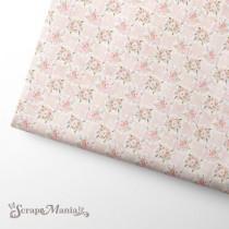 """Отрез ткани """"Свадебный букет. Цветы на розовом"""" (Scrapmania), размер 37х50см"""
