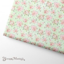 """Отрез ткани """"Свадебный букет. Цветы на зеленом"""" (Scrapmania), размер 37х50см"""
