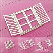 "3D чипборд ""Окно с открывающимися створками"" 73х70мм"