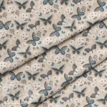 "Премиум хлопок ""Бабочки на бежевом"" размер 50х40 см., пл.150 гр/м2, Польша"