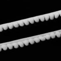 Лента с помпонами, белая, 1 метр, ширина 5 мм