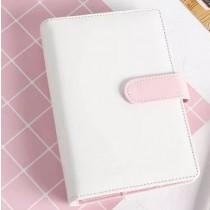 """Обложка для блокнота А5 """"Белый с розовым хлястиком"""""""